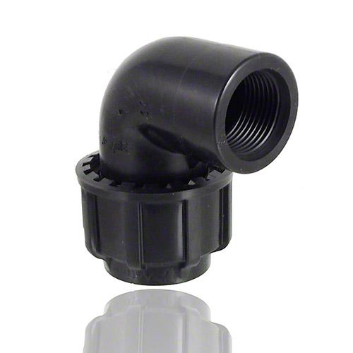 Top PP-Klemmverbinder für PE Rohre, Übergangswinkel 90 Grad, mit  YA27