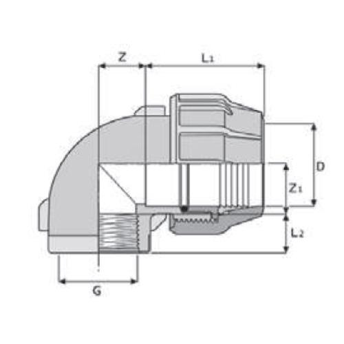 Fantastisch PP-Klemmverbinder für PE Rohre, Übergangswinkel 90 Grad, mit  DI47